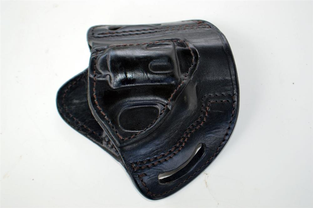 black leather holsters showing stitching
